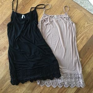 Pair of  crochet trimmed tunics. Black and nude.